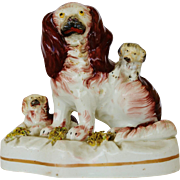 Victorian Staffordshire Spaniel Dog With Pups