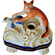 C1850 Victorian Staffordshire Fox Pen Holder