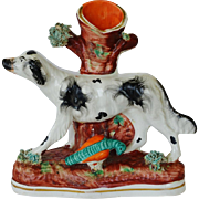 Victorian Staffordshire Spill Vase ~ Hunting Dog With Game