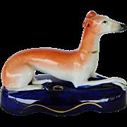 C1860 Victorian Staffordshire Greyhound Dog Inkwell/Pen Holder