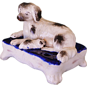 C1850 Victorian Staffordshire Spaniel Dog With Pup Inkwell