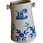 Antique French Stoneware Jar ~ Dogs And Flowers