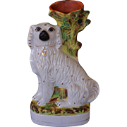 Large Victorian Staffordshire Spaniel Spill Vase C1870