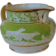 Antique Staffordshire Pearlware Pitcher ~ Hunting Greyhouds And Retriever