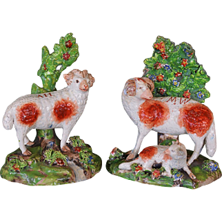 Pair Early Antique Staffordshire Rams