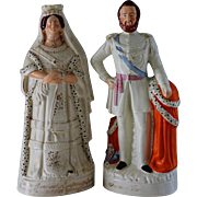 Large Pair Antique Staffordshire Figures ~ Queen Victoria And Prince of Wales