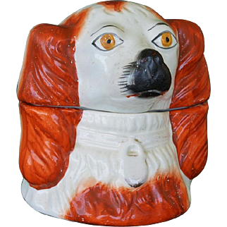 Victorian Staffordshire Spaniel Dog Head Tobacco Jar With Lid