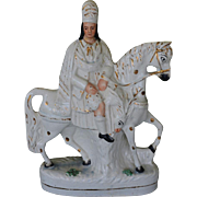 Large Victorian Staffordshire Horse And Rider C1890