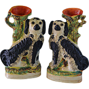 Pair Large Victorian Staffordshire Spaniel Spill Vases C1870