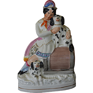 Victorian Staffordshire Boy Figure With His Spaniel Dogs