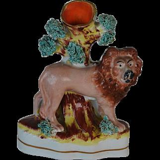 Victorian Staffordshire Lion Spill Vase C1860