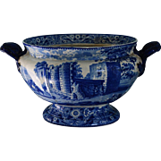 Antique Staffordshire Blue Transferware Soup Tureen