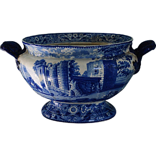 Antique Staffordshire Blue Transferware Soup Tureen