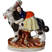 C1860 Antique Staffordshire Figure ~ Girl Riding Newfoundland Dog