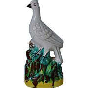 C1860 Antique Staffordshire Bird On Rock Figure