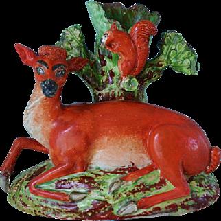 C1800 ~ Antique Staffordshire Deer And Squirrel Spill Vase