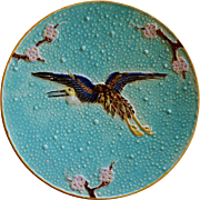 C1880 Victorian Majolica Flying Heron Plate By Joseph Holdcroft #2