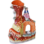 Victorian Staffordshire Spill Vase ~ Girl Over Bridge With Fox And Swan
