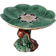 Antique 19C Majolica Heron Lily Pad Compote