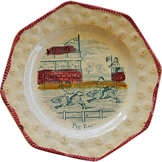 "C1840 Early Child's Pearlware Plate ~ ""Pig Race"""