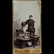 Cabinet Photograph Faithful Dog With Child