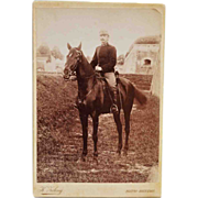 Antique Cabinet Photograph ~ Austrian Soldier & Beautiful Horse