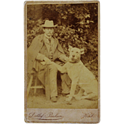 Antique CDV Photograph ~ Man With Faithful Dog - Red Tag Sale Item