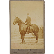 Antique Cabinet Photograph ~ French Officer & Horse