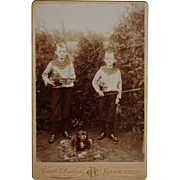 Antique Cabinet Photograph ~ Boys With Violins & Pet Dog