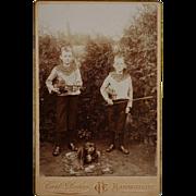 Antique Cabinet Photograph ~ Boys With Violins & Pet Dog