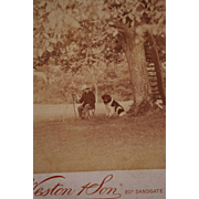 Antique Cabinet Photograph ~ Artist Painting With Faithful Dog