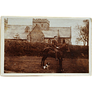 Antique Cabinet Photograph ~ English Gentleman On Horse & Dog Companion