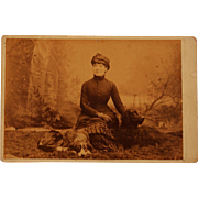 Antique Cabinet Photograph ~ Lovely Lady With Her Dogs ~ Curly Retriever
