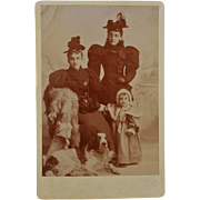 Antique Cabinet Photograph ~ Family With Dog