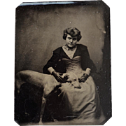 Antique Tintype Photograph ~ Woman & Her Loving Greyhound Dog
