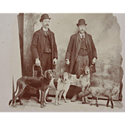 Antique Cabinet Photograph ~ Hunting Dog Group With Fox