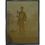 Antique Cabinet Photograph ~ Decorated French Soldier With Dog Mascot