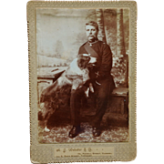 Antique Cabinet Photograph ~ British Soldier With Faithful Dog