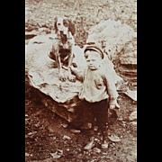 Antique Cabinet Photograph ~ Boy & His Dog