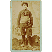 French CDV Photograph ~ Chasseurs Alpins Infantryman With Newfoundland Dog