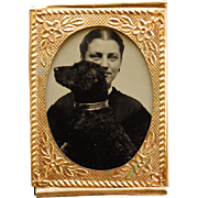 Antique Gem Tintype ~ Woman & Beloved Dog