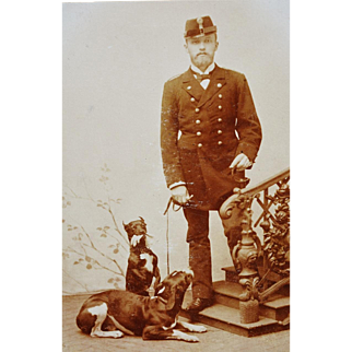 Antique Cabinet Photograph ~ Austrian Man With Dogs