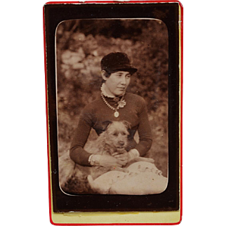 Antique CDV Photograph ~ Girl With Sweet Dog