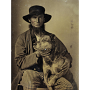 Antique Tintype Photograph ~ Bearded Man With Faithful Dog