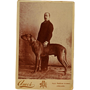 Antique Cabinet Photograph ~ Mastiff Dog With Master