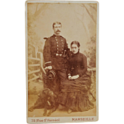 Antique French CDV Photograph ~ Man in Uniform With Woman And Dog
