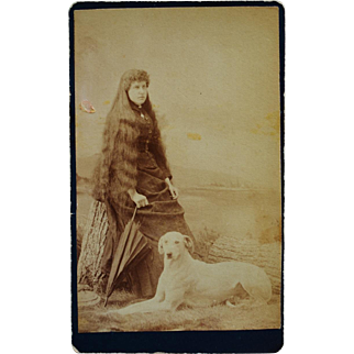 Antique CDV Photograph ~ Lady With Long Hair And Greyhound Dog