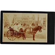 Antique Cabinet Photograph ~ Three Children And Pony Horse