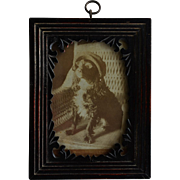 Antique Frame With Cabinet Photograph ~ Charming Dog With Glasses And Hat