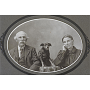 Antique Cabinet Photograph ~ Family With Beloved Dog